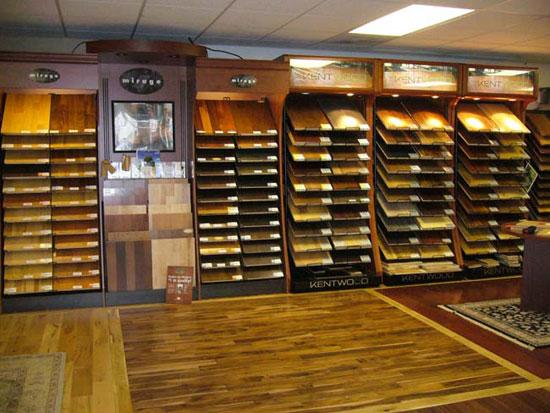 Our showroom carpet vinyl tile stone blinds window for Hardwood floor showroom