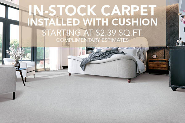 In-stock carpet with installation starting at $2.39 sq.ft.!  Complimentary estimates available this month at Abbey Capitol Floors & Interiors in Olympia!