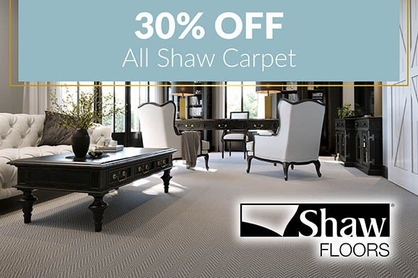 30% off all Shaw Carpet!